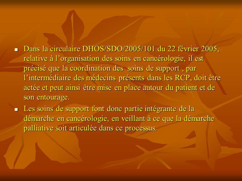 Dans la circulaire DHOS/SDO/2005/101 du 22 février 2005, relative à lorganisation des soins en cancérologie, il est précisé que la coordination des so