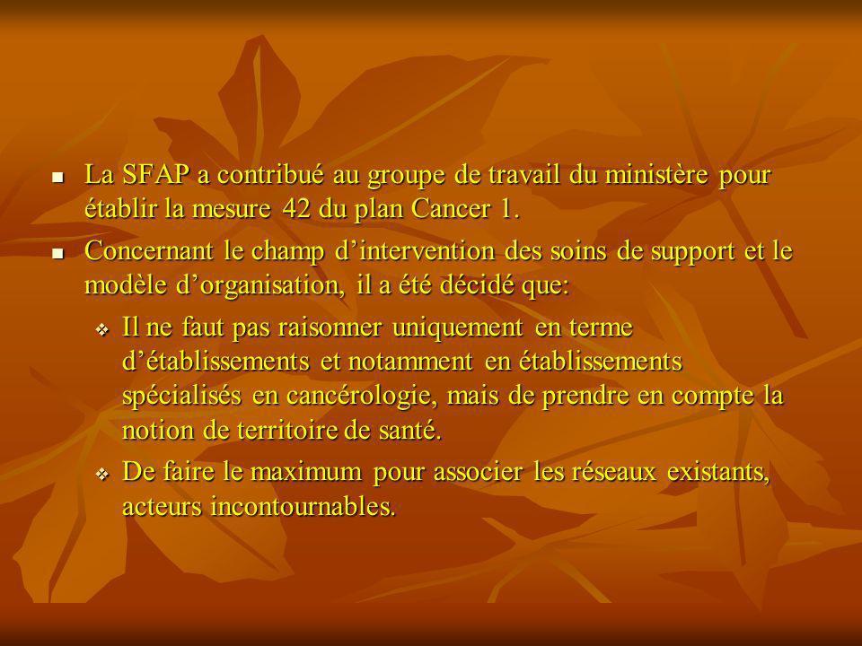 La SFAP a contribué au groupe de travail du ministère pour établir la mesure 42 du plan Cancer 1. La SFAP a contribué au groupe de travail du ministèr