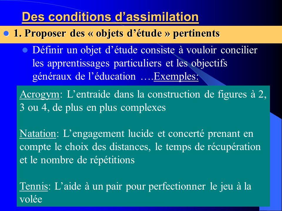 Des conditions dassimilation 1. Proposer des « objets détude » pertinents 1. Proposer des « objets détude » pertinents Définir un objet détude consist