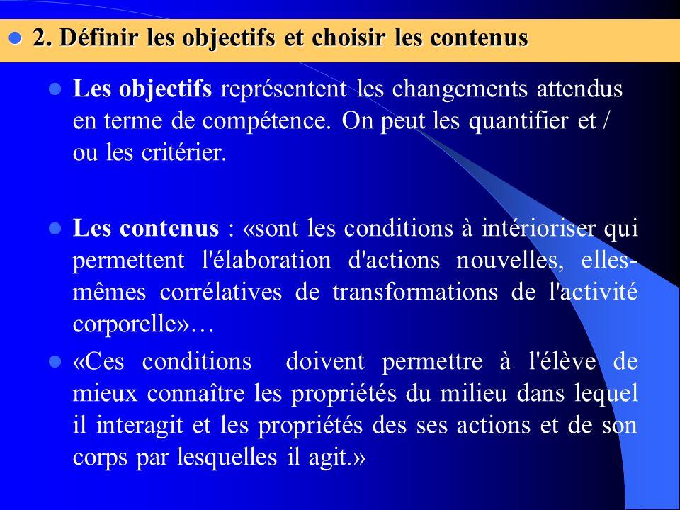 2. Définir les objectifs et choisir les contenus 2. Définir les objectifs et choisir les contenus Les objectifs représentent les changements attendus