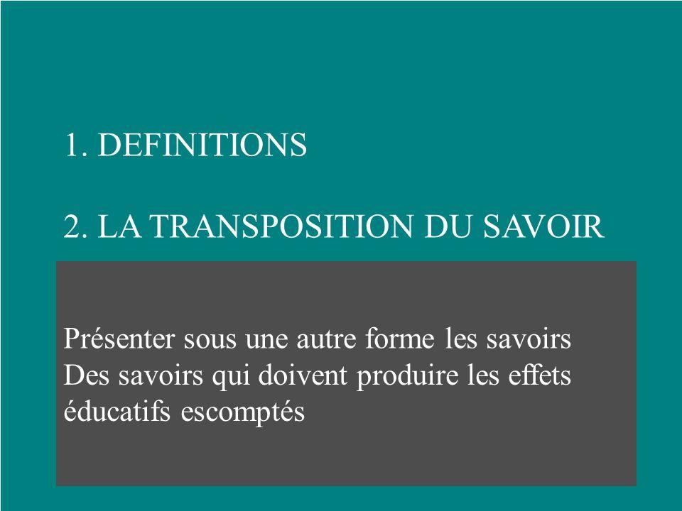 1.DEFINITIONS 2. LA TRANSPOSITION DU SAVOIR 3. LES SAVOIRS VALIDES 4. LES SAVOIRS TRANSMISSIBLES Présenter sous une autre forme les savoirs sociaux de