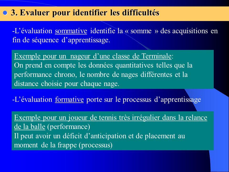 3. Evaluer pour identifier les difficultés 3. Evaluer pour identifier les difficultés Exemple pour un nageur dune classe de Terminale: On prend en com