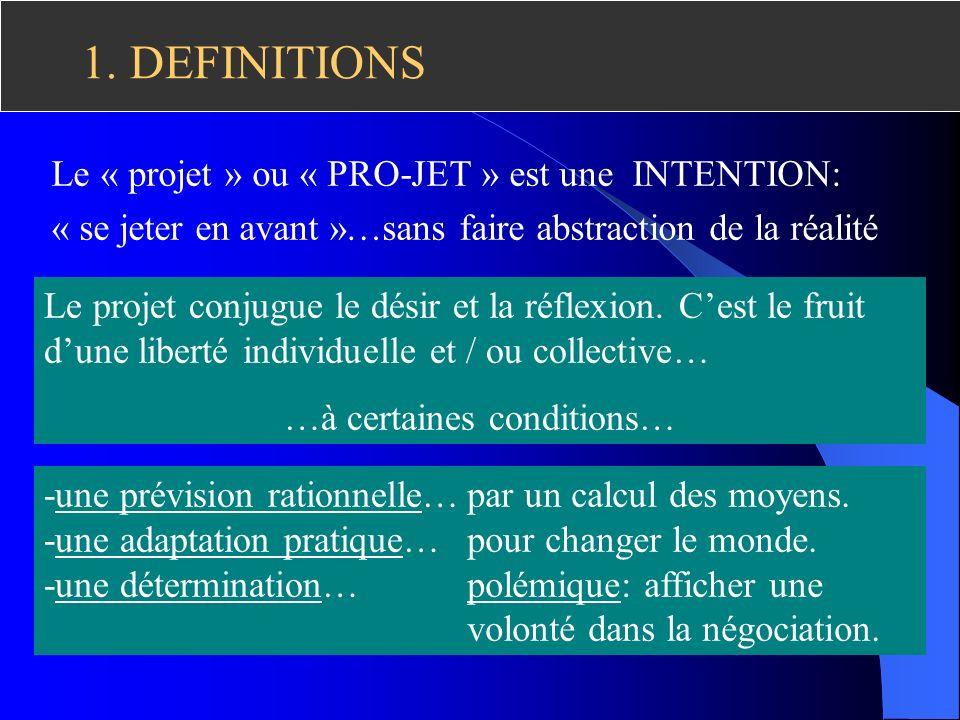 1.DEFINITIONS Le « projet » ou « PRO-JET » est une INTENTION: « se jeter en avant »…sans faire abstraction de la réalité -une prévision rationnelle… -