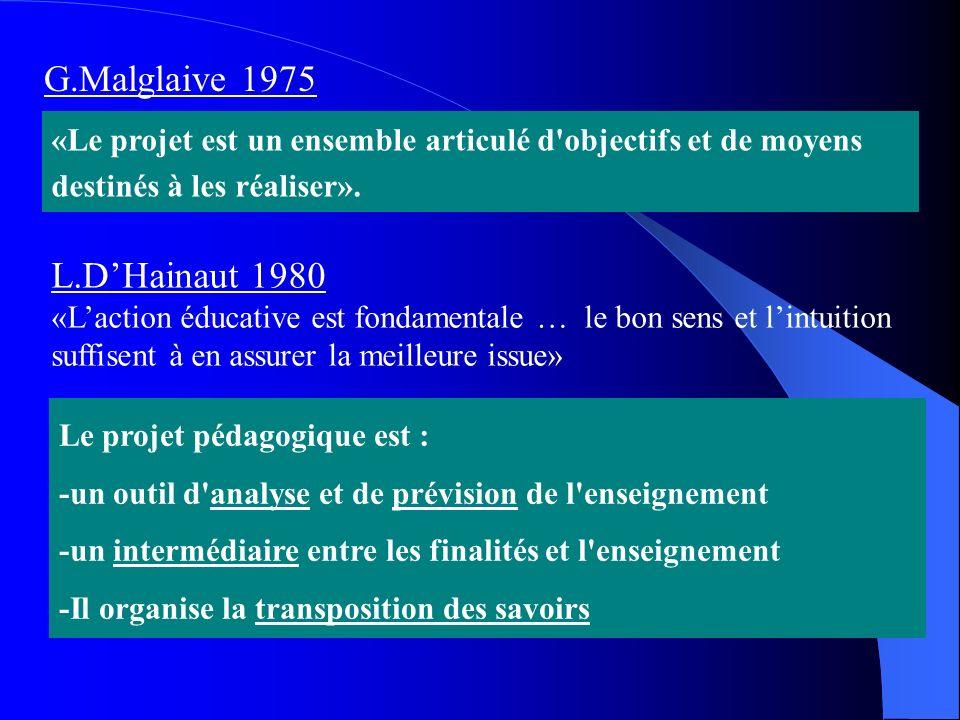 Le projet pédagogique est : -un outil d'analyse et de prévision de l'enseignement -un intermédiaire entre les finalités et l'enseignement -Il organise