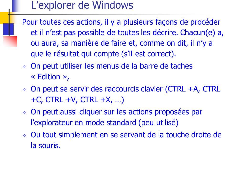 Lexplorer de Windows Pour toutes ces actions, il y a plusieurs façons de procéder et il nest pas possible de toutes les décrire. Chacun(e) a, ou aura,