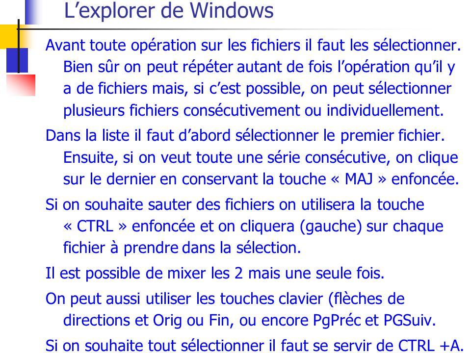 Lexplorer de Windows Avant toute opération sur les fichiers il faut les sélectionner.