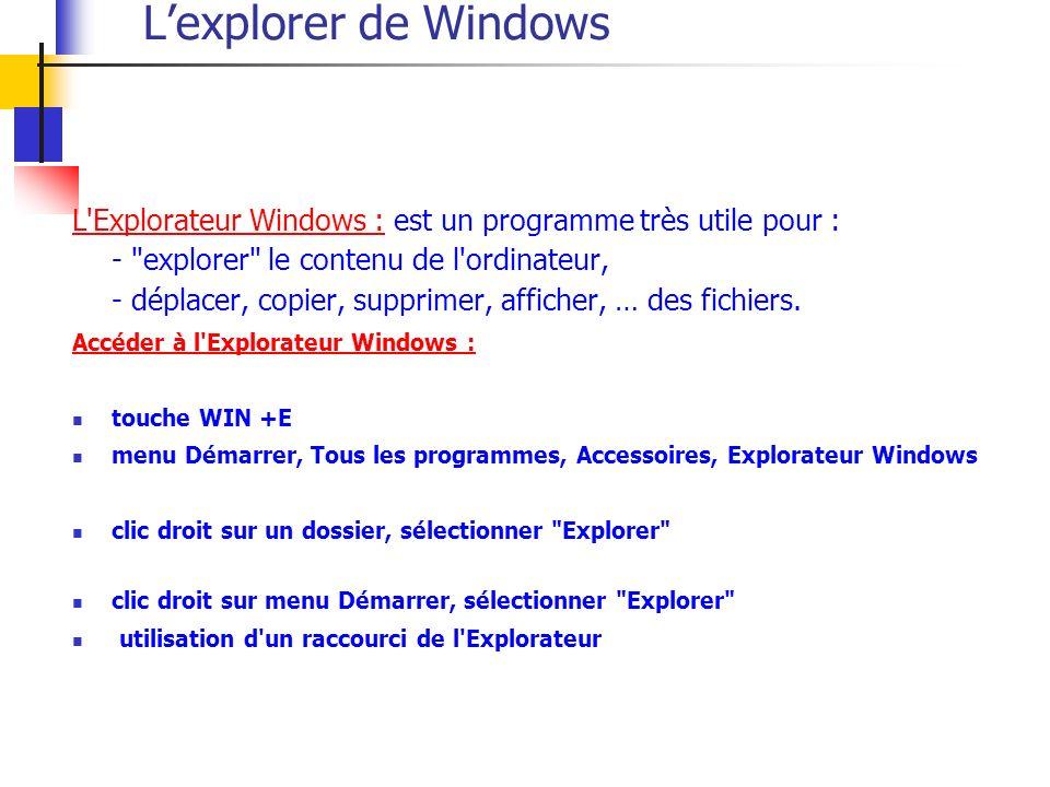 Lexplorer de Windows L Explorateur Windows :L Explorateur Windows : est un programme très utile pour : - explorer le contenu de l ordinateur, - déplacer, copier, supprimer, afficher, … des fichiers.
