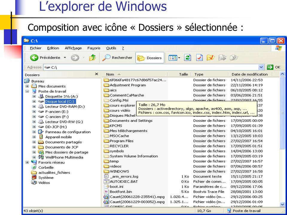 Lexplorer de Windows Composition avec icône « Dossiers » sélectionnée :