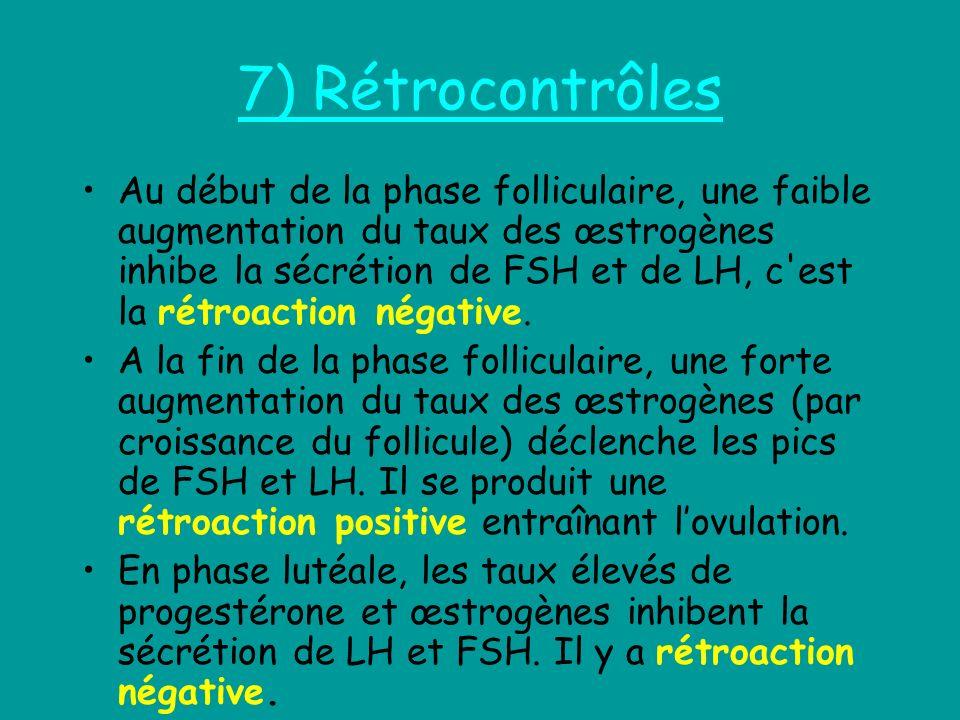 7) Rétrocontrôles Au début de la phase folliculaire, une faible augmentation du taux des œstrogènes inhibe la sécrétion de FSH et de LH, c'est la rétr