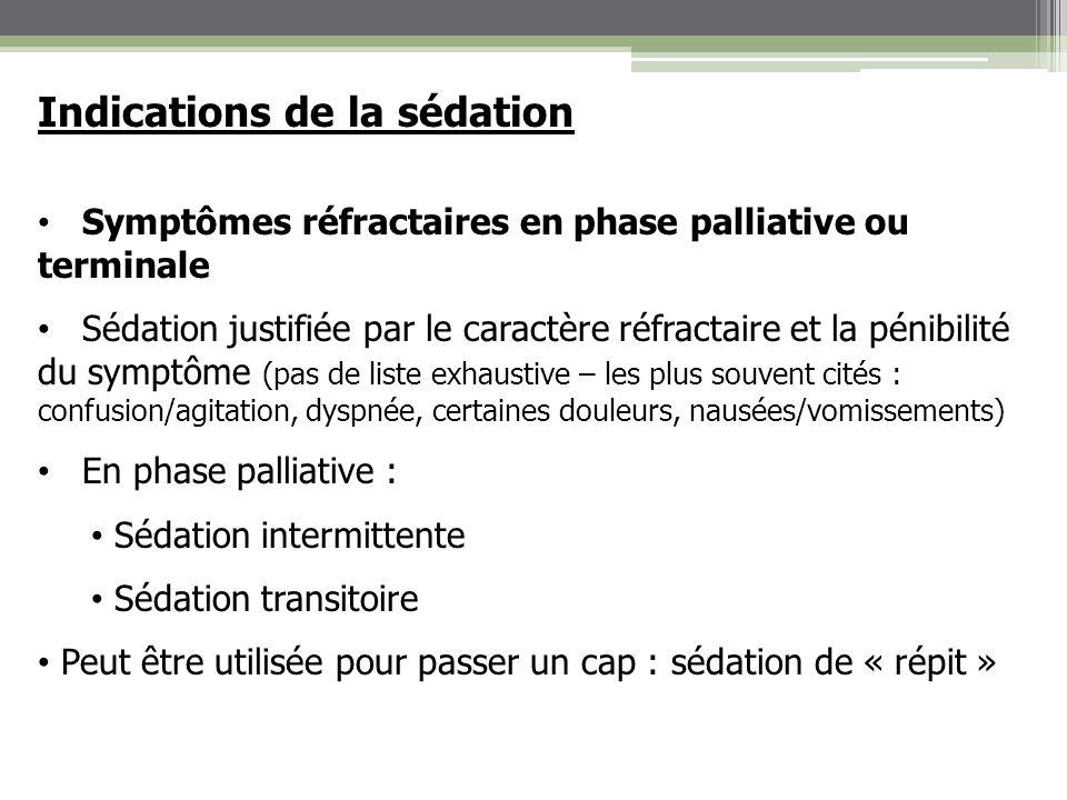 Indications de la sédation Symptômes réfractaires en phase palliative ou terminale Sédation justifiée par le caractère réfractaire et la pénibilité du