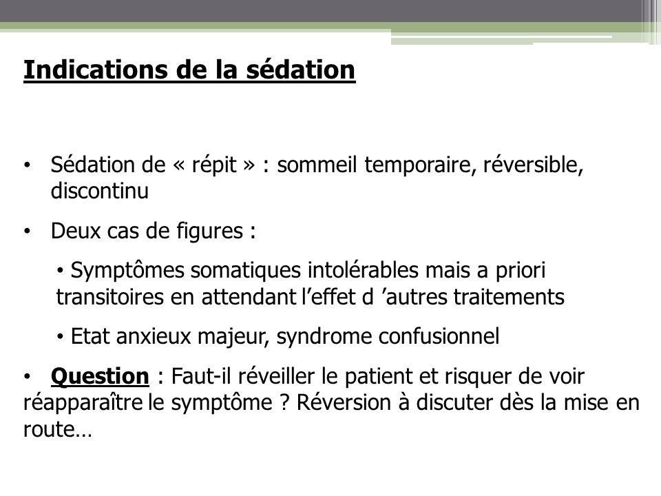 Indications de la sédation Sédation de « répit » : sommeil temporaire, réversible, discontinu Deux cas de figures : Symptômes somatiques intolérables