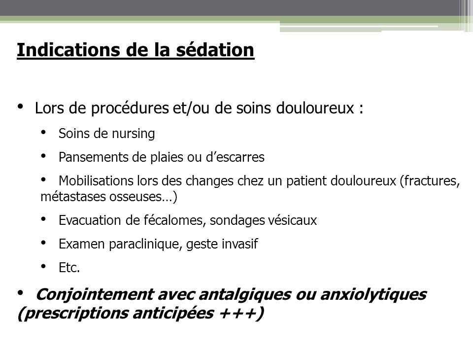 Indications de la sédation Lors de procédures et/ou de soins douloureux : Soins de nursing Pansements de plaies ou descarres Mobilisations lors des ch