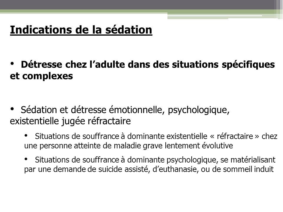 Indications de la sédation Détresse chez ladulte dans des situations spécifiques et complexes Sédation et détresse émotionnelle, psychologique, existe