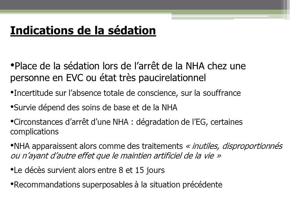 Indications de la sédation Place de la sédation lors de larrêt de la NHA chez une personne en EVC ou état très paucirelationnel Incertitude sur labsen