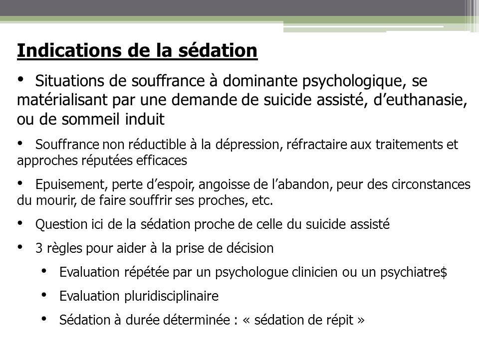 Indications de la sédation Situations de souffrance à dominante psychologique, se matérialisant par une demande de suicide assisté, deuthanasie, ou de
