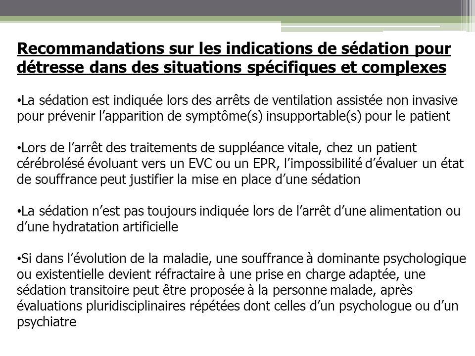 Recommandations sur les indications de sédation pour détresse dans des situations spécifiques et complexes La sédation est indiquée lors des arrêts de