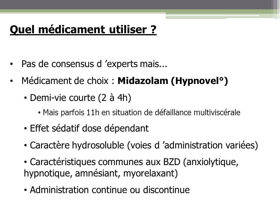 Quel médicament utiliser ? Pas de consensus d experts mais... Médicament de choix : Midazolam (Hypnovel°) Demi-vie courte (2 à 4h) Mais parfois 11h en