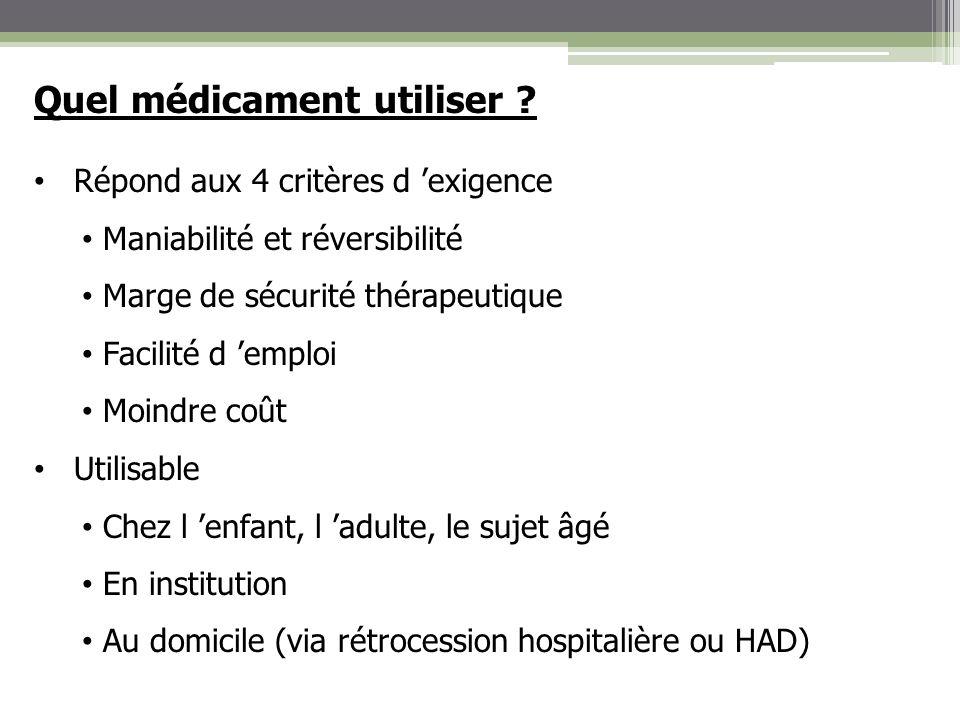 Quel médicament utiliser ? Répond aux 4 critères d exigence Maniabilité et réversibilité Marge de sécurité thérapeutique Facilité d emploi Moindre coû