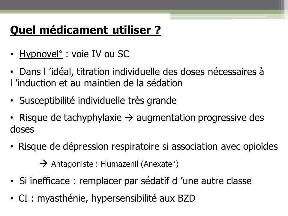 Quel médicament utiliser ? Hypnovel° : voie IV ou SC Dans l idéal, titration individuelle des doses nécessaires à l induction et au maintien de la séd