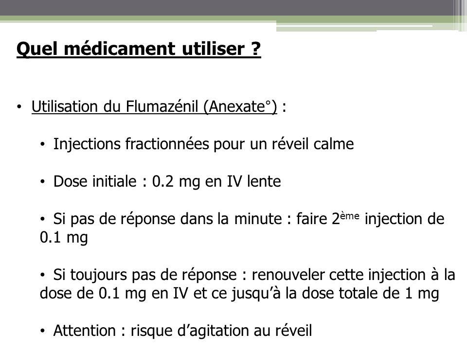 Quel médicament utiliser ? Utilisation du Flumazénil (Anexate°) : Injections fractionnées pour un réveil calme Dose initiale : 0.2 mg en IV lente Si p