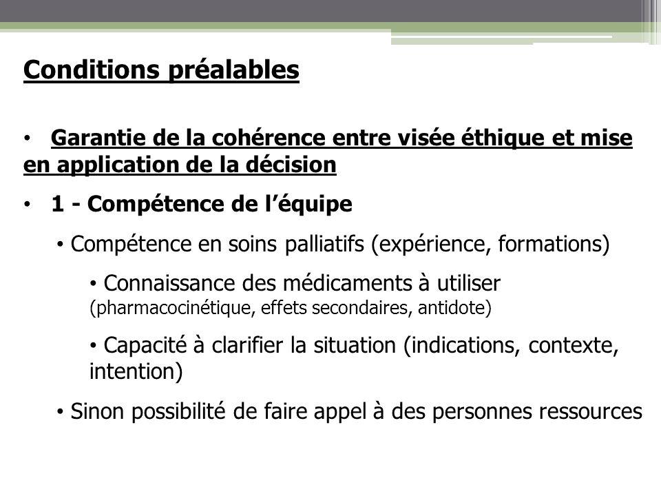 Conditions préalables Garantie de la cohérence entre visée éthique et mise en application de la décision 1 - Compétence de léquipe Compétence en soins
