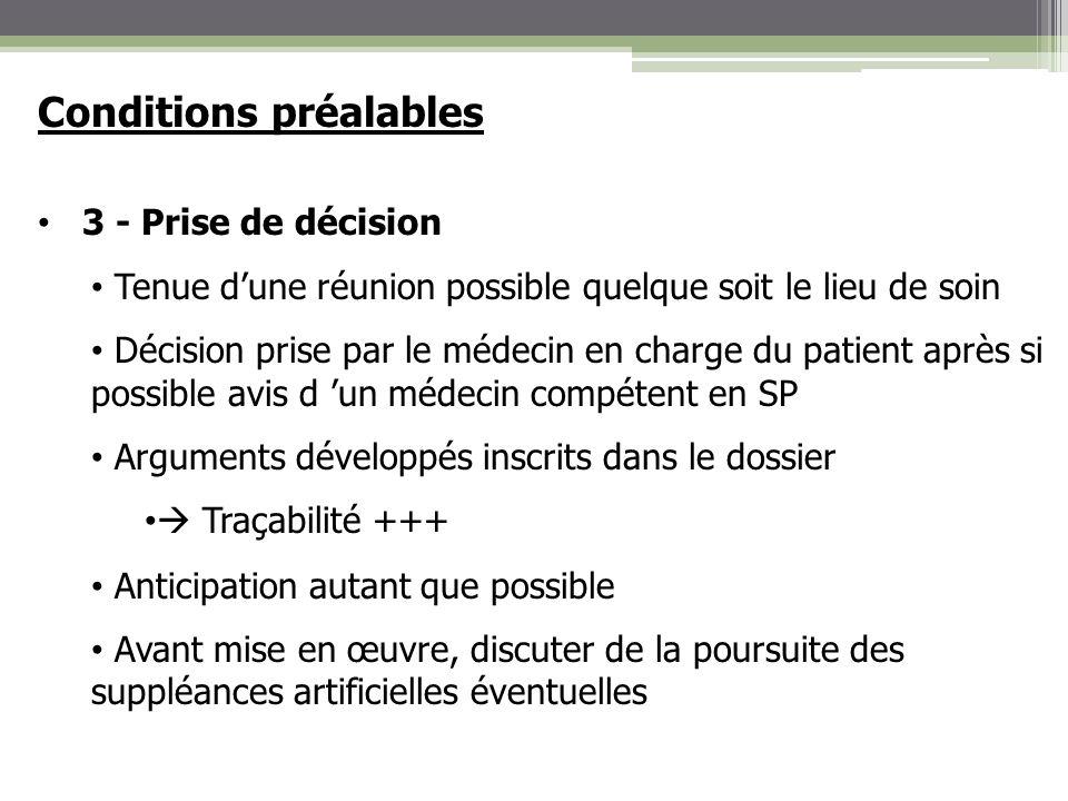 Conditions préalables 3 - Prise de décision Tenue dune réunion possible quelque soit le lieu de soin Décision prise par le médecin en charge du patien