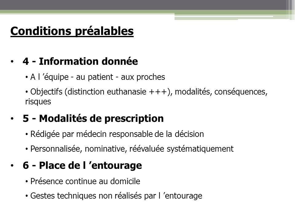 Conditions préalables 4 - Information donnée A l équipe - au patient - aux proches Objectifs (distinction euthanasie +++), modalités, conséquences, ri