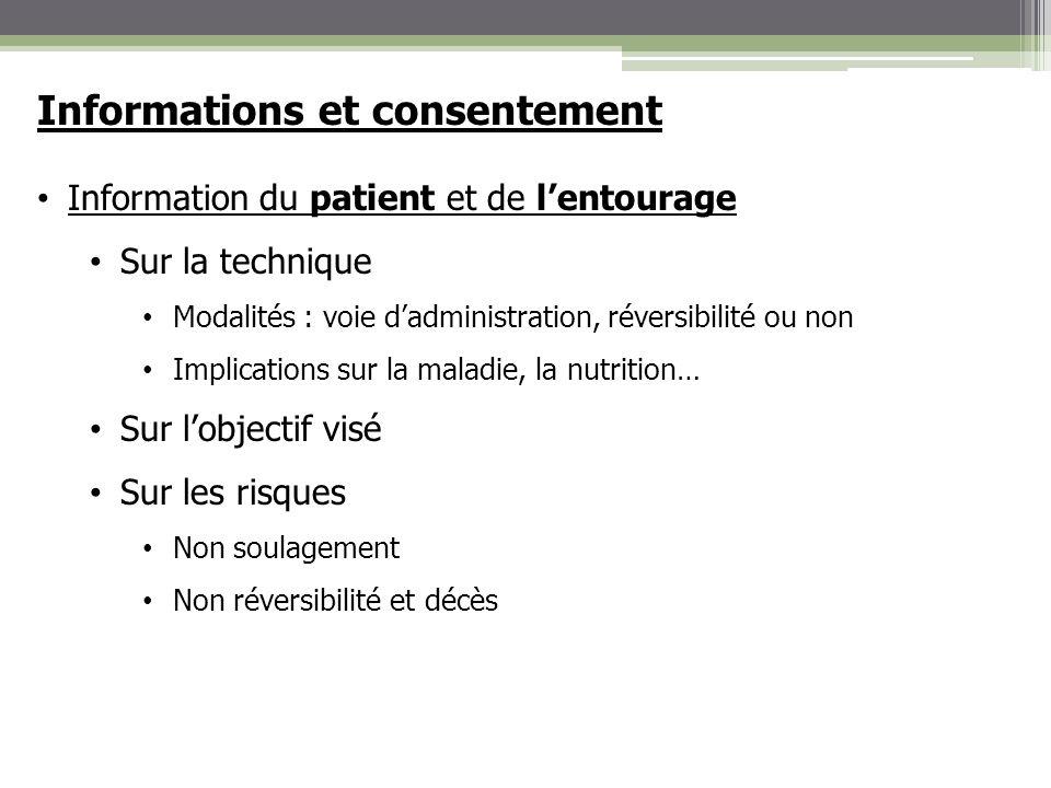 Informations et consentement Information du patient et de lentourage Sur la technique Modalités : voie dadministration, réversibilité ou non Implicati