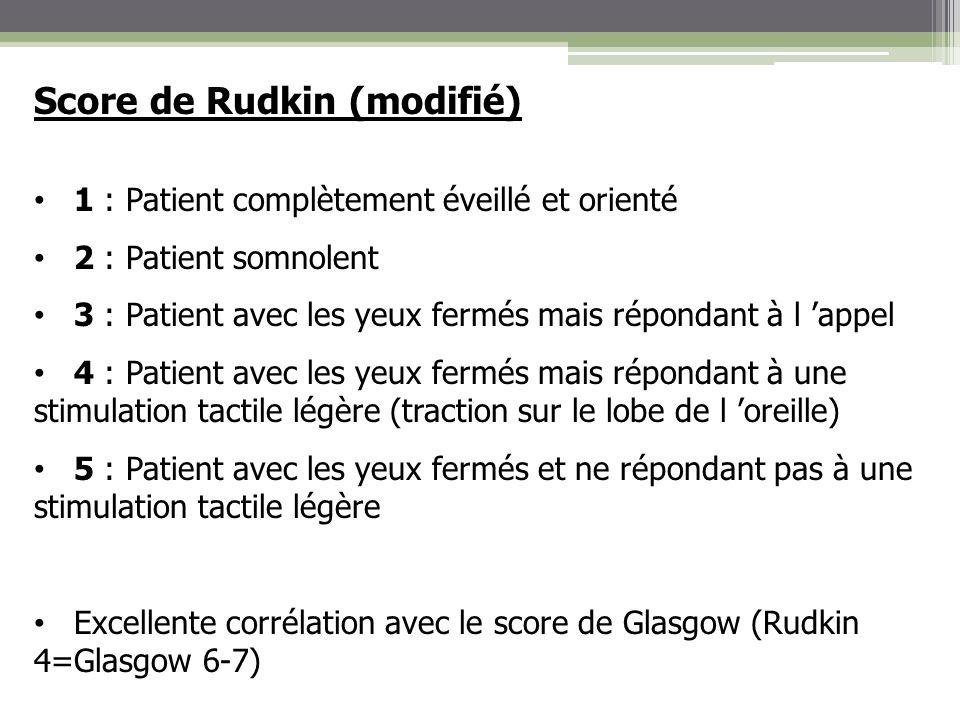 Score de Rudkin (modifié) 1 : Patient complètement éveillé et orienté 2 : Patient somnolent 3 : Patient avec les yeux fermés mais répondant à l appel