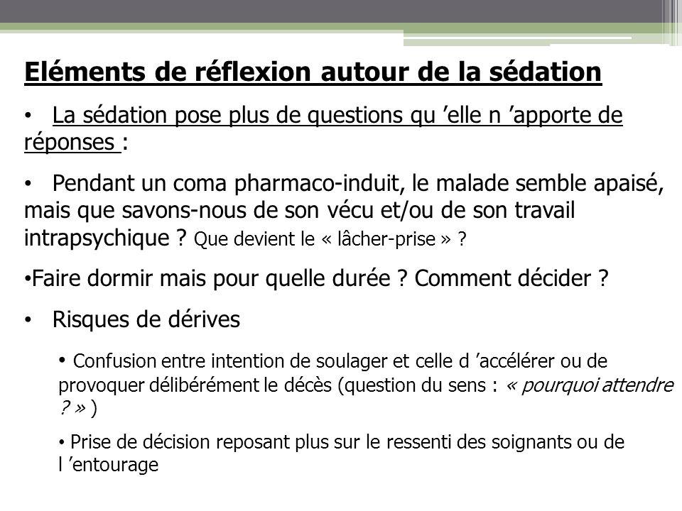 Eléments de réflexion autour de la sédation La sédation pose plus de questions qu elle n apporte de réponses : Pendant un coma pharmaco-induit, le mal