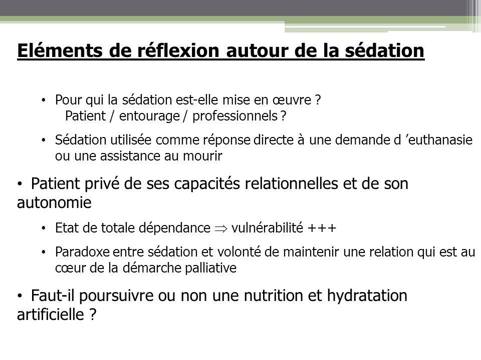 Eléments de réflexion autour de la sédation Pour qui la sédation est-elle mise en œuvre ? Patient / entourage / professionnels ? Sédation utilisée com