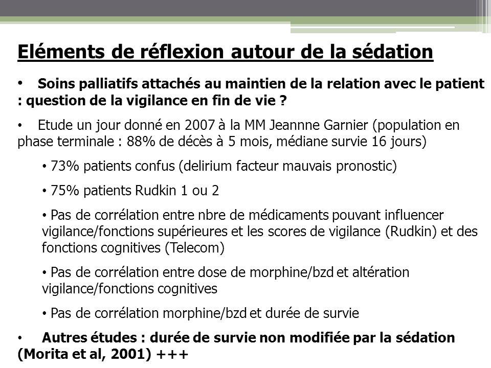 Eléments de réflexion autour de la sédation Soins palliatifs attachés au maintien de la relation avec le patient : question de la vigilance en fin de
