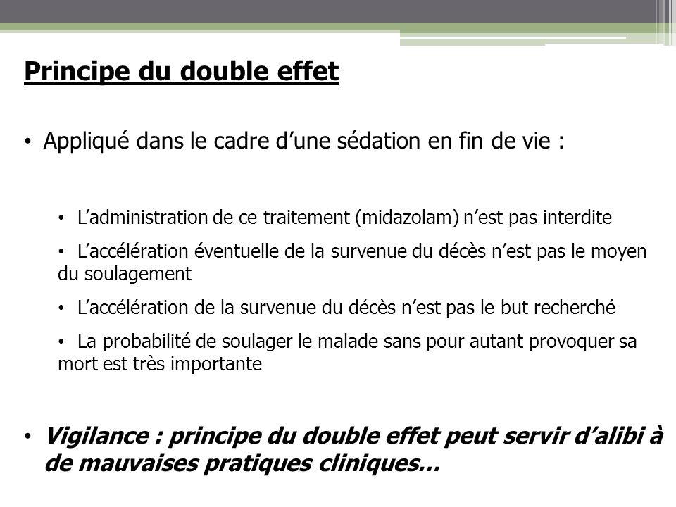Principe du double effet Appliqué dans le cadre dune sédation en fin de vie : Ladministration de ce traitement (midazolam) nest pas interdite Laccélér