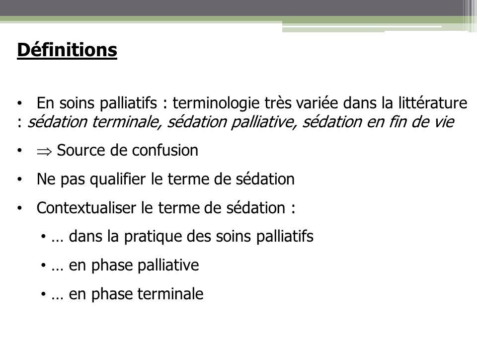 Indications de la sédation Place de la sédation dans certaines situations neurologiques aigües : exemple en neuroréanimation Phase subaigüe Coma endogène (lésions cérébrales) et pharmacologique avec contrôle des fonctions vitales et de la pression intra-crânienne Arrêt sédation : évaluation part endogène coma et estimation pronostic et handicap (EVC ou EPR) Loi 22 avril 2005 : possibilité de mise en œuvre LATA (ventilation, hémodynamique, NHA) phase terminale Incertitude sur lexistence potentielle dune souffrance du patient Mise en place dune sédation devant toute suspicion dinconfort ou de souffrance