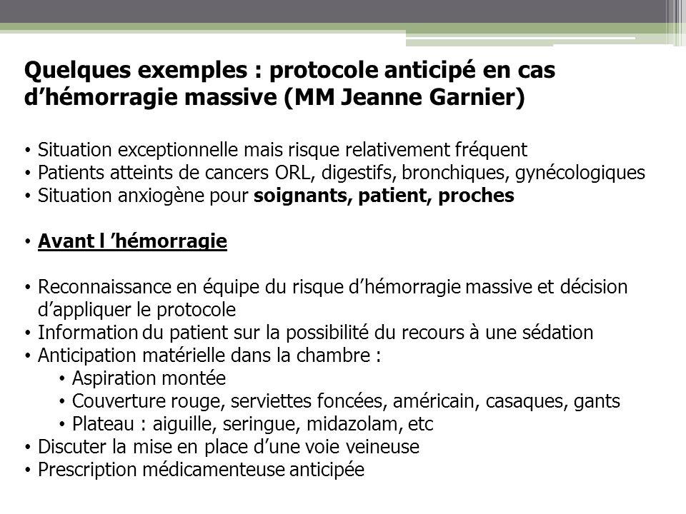 Quelques exemples : protocole anticipé en cas dhémorragie massive (MM Jeanne Garnier) Situation exceptionnelle mais risque relativement fréquent Patie