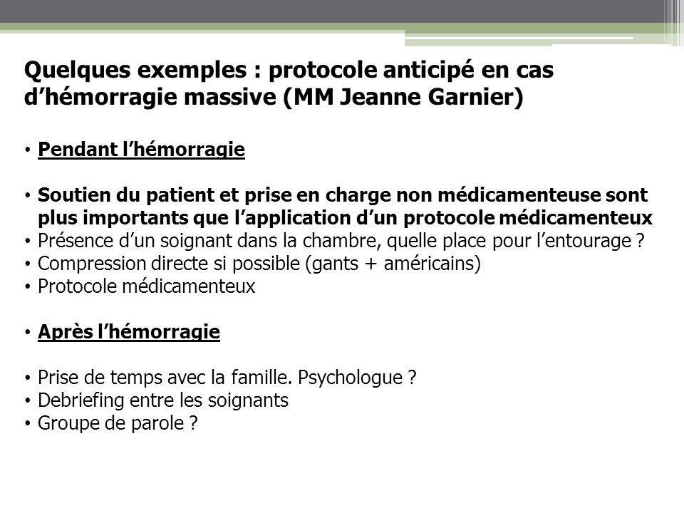 Quelques exemples : protocole anticipé en cas dhémorragie massive (MM Jeanne Garnier) Pendant lhémorragie Soutien du patient et prise en charge non mé