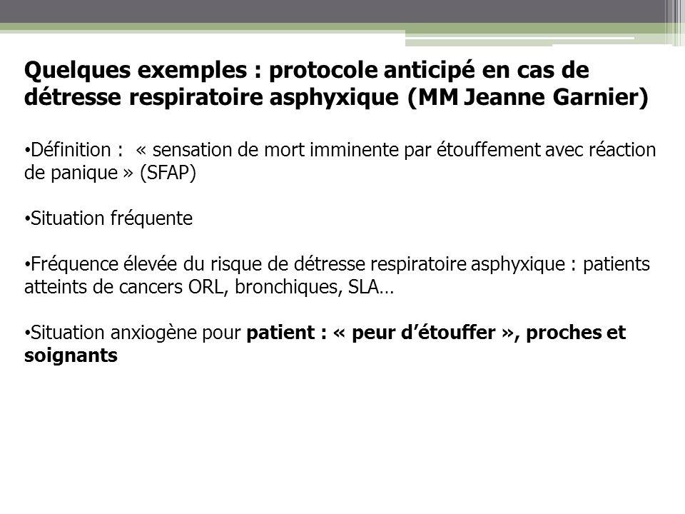 Quelques exemples : protocole anticipé en cas de détresse respiratoire asphyxique (MM Jeanne Garnier) Définition : « sensation de mort imminente par é