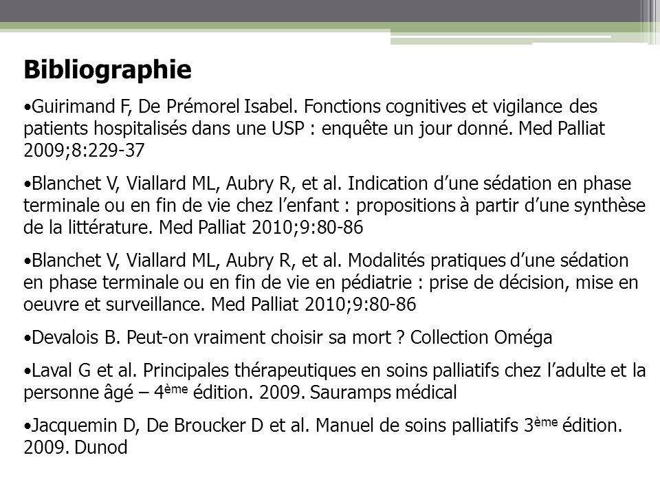 Bibliographie Guirimand F, De Prémorel Isabel. Fonctions cognitives et vigilance des patients hospitalisés dans une USP : enquête un jour donné. Med P
