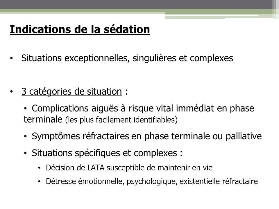 Indications de la sédation Situations exceptionnelles, singulières et complexes 3 catégories de situation : Complications aiguës à risque vital immédi