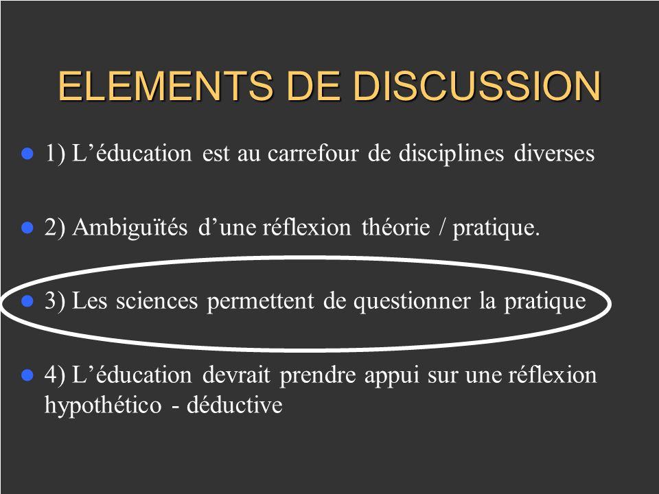 ELEMENTS DE DISCUSSION 1) Léducation est au carrefour de disciplines diverses 2) Ambiguïtés dune réflexion théorie / pratique.