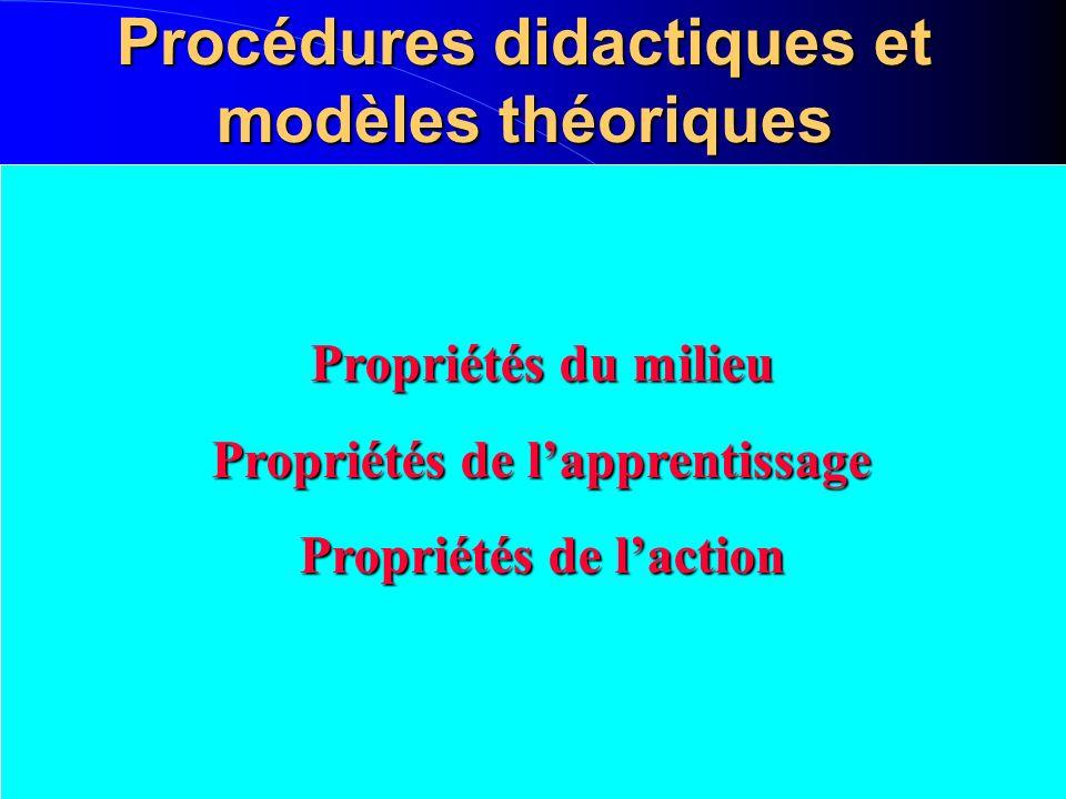 Procédures didactiques et modèles théoriques Propriétés du milieu Propriétés de lapprentissage Propriétés de laction