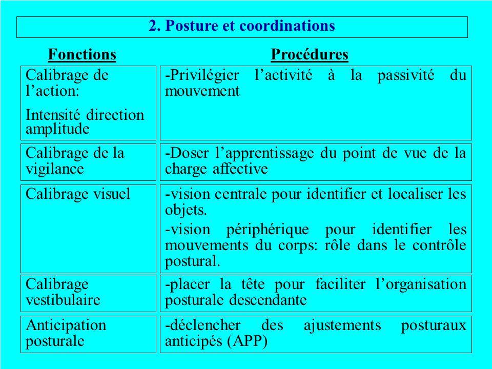2. Posture et coordinations ProcéduresFonctions Calibrage de laction: Intensité direction amplitude -Privilégier lactivité à la passivité du mouvement