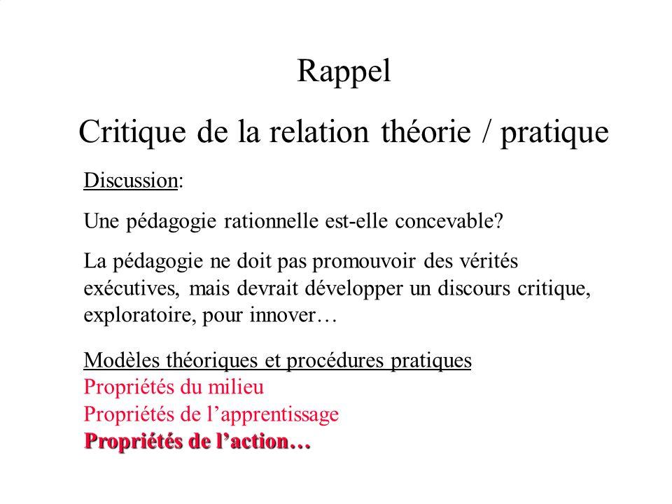 Rappel Critique de la relation théorie / pratique Discussion: Une pédagogie rationnelle est-elle concevable? La pédagogie ne doit pas promouvoir des v