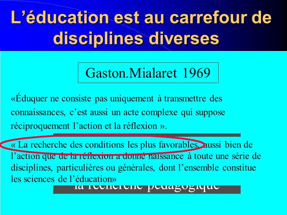 Léducation est au carrefour de disciplines diverses Léducation est au carrefour de disciplines diverses Gaston.Mialaret 1969 La méthode passe par une