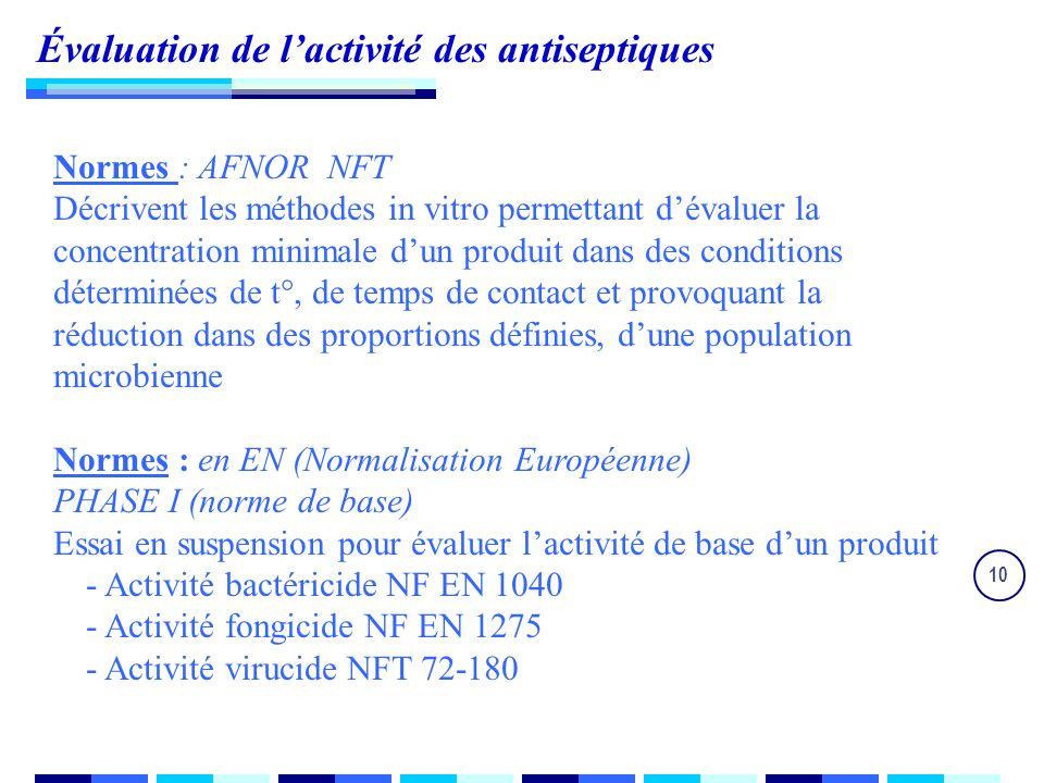 10 Évaluation de lactivité des antiseptiques Normes : AFNOR NFT Décrivent les méthodes in vitro permettant dévaluer la concentration minimale dun produit dans des conditions déterminées de t°, de temps de contact et provoquant la réduction dans des proportions définies, dune population microbienne Normes : en EN (Normalisation Européenne) PHASE I (norme de base) Essai en suspension pour évaluer lactivité de base dun produit - Activité bactéricide NF EN 1040 - Activité fongicide NF EN 1275 - Activité virucide NFT 72-180