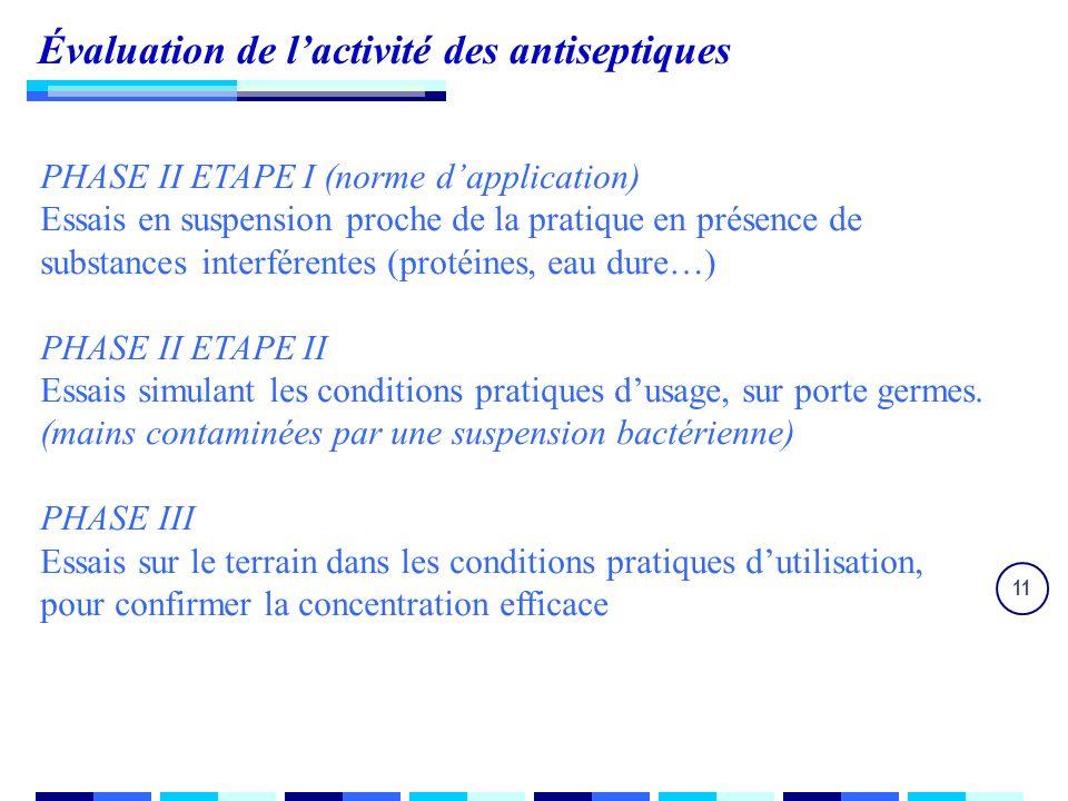 11 Évaluation de lactivité des antiseptiques PHASE II ETAPE I (norme dapplication) Essais en suspension proche de la pratique en présence de substances interférentes (protéines, eau dure…) PHASE II ETAPE II Essais simulant les conditions pratiques dusage, sur porte germes.