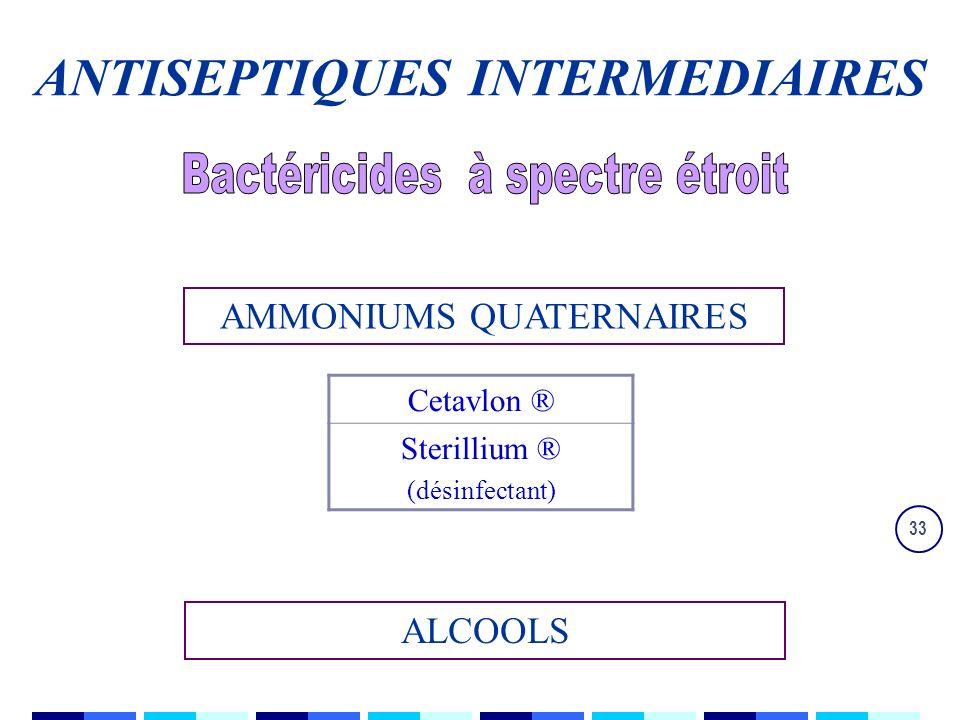 33 AMMONIUMS QUATERNAIRES Cetavlon ® Sterillium ® (désinfectant) ALCOOLS ANTISEPTIQUES INTERMEDIAIRES