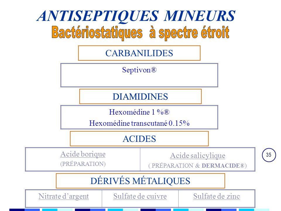 35 CARBANILIDES DIAMIDINES ACIDES DÉRIVÉS MÉTALIQUES Septivon® Hexomédine 1 %® Hexomédine transcutané 0.15% Acide borique (PRÉPARATION) Acide salicylique ( PRÉPARATION & DERMACIDE®) Nitrate dargentSulfate de cuivreSulfate de zinc DIAMIDINES ANTISEPTIQUES MINEURS