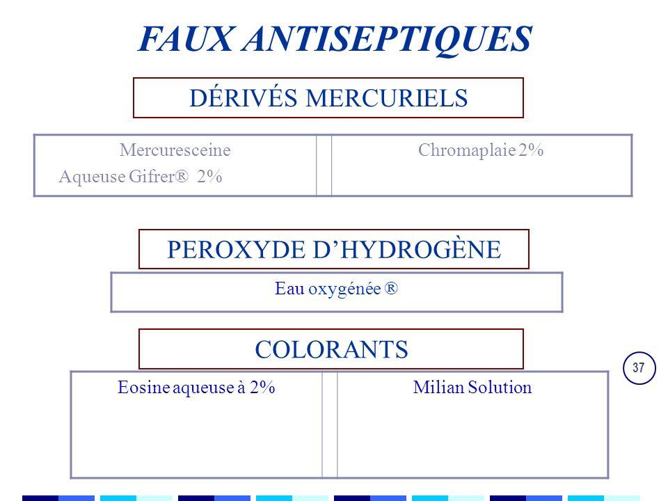 37 DÉRIVÉS MERCURIELS PEROXYDE DHYDROGÈNE COLORANTS Mercuresceine Aqueuse Gifrer® 2% Chromaplaie 2% Eau oxygénée ® Eosine aqueuse à 2%Milian Solution FAUX ANTISEPTIQUES