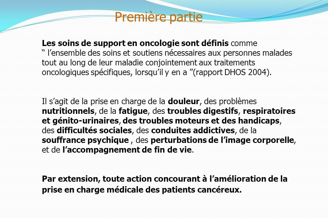 Les soins de support en oncologie sont définis comme lensemble des soins et soutiens nécessaires aux personnes malades tout au long de leur maladie conjointement aux traitements oncologiques spécifiques, lorsquil y en a (rapport DHOS 2004).